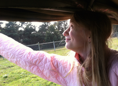 Jessica feeding a giraffe from the Land Rover.
